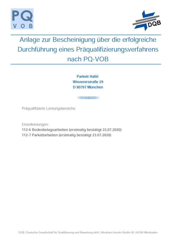 Präqualifizierung nach PQ-VOB im Bereich Bodenbelagsarbeiten und Parkettarbeiten